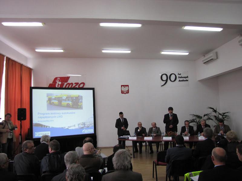 Prezentacja Solbus SM 12 LNG w Warszawie - Konferencja prasowa przedstawicieli firm