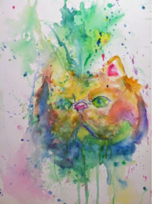 art, art show, cats, yarn, watercolor, painting