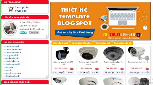 Share template blogspot bán hàng camera