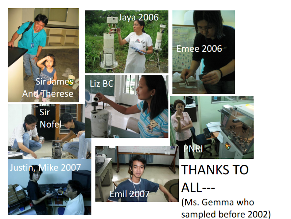 Sir James and Therese, Jaya (2006), Emee (2006), Liz BC, Justine and Mike (2007), Emil (2007), PNRI, Ms. Gemma (2002)