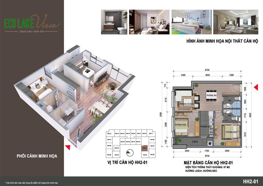 Thiết kế căn 001 tòa HH2 Eco Lake View