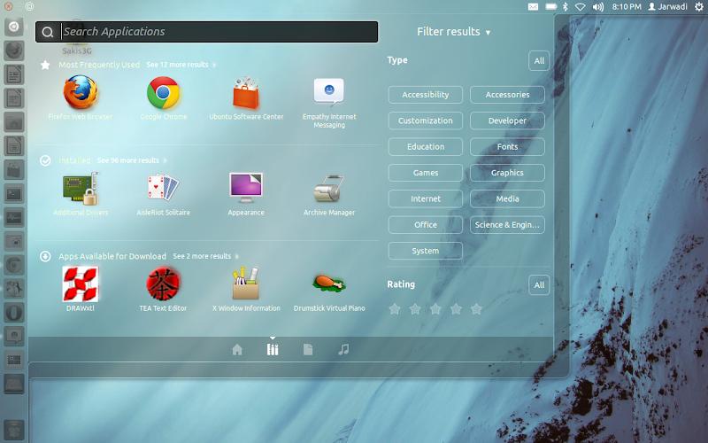 Ubuntu 11.10 Oneiric Ocelot 's Dash Home