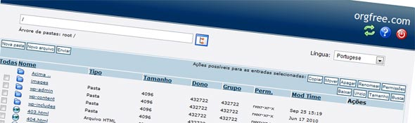 Navegador de arquivos do free web host area.