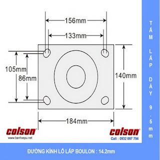Bảng vẽ kích thước tấm lắp bánh xe đẩy công nghiệp chịu tải trọng nặng (900~2025kg) :
