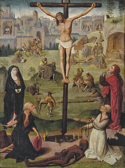 Geertgen tot Sint Jans - The Crucifixion with St Jerome and St Dominic and Scenes from the Passion