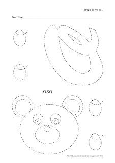 Dibujo de la vocal O de oso para trazar