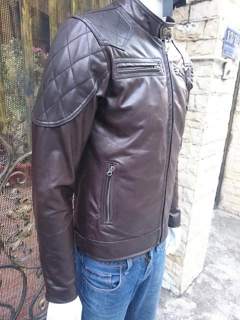 áo khoác da cừu màu nâu cao cấp thời trang