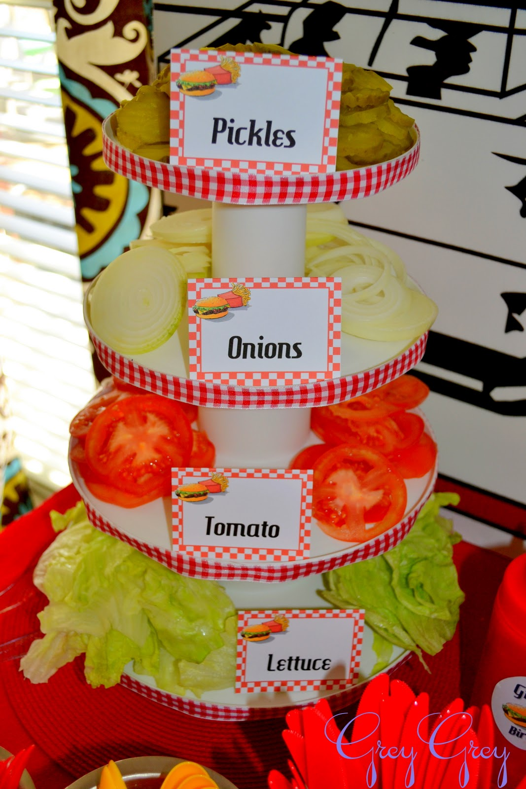 Greygrey designs my parties greyson 39 s hamburger themed for What to serve at a bbq birthday party
