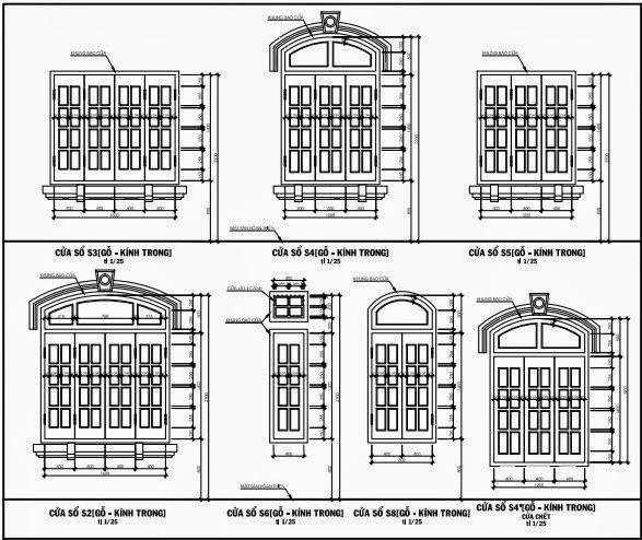Cửa sổ S1, S2, S3, S4, S5 ( gỗ - kính trong )