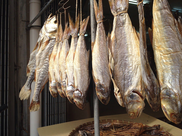 All sorts of dried fish can be found in the street market of Tai O