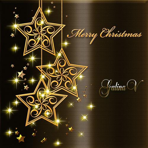 PSD-исходник - Золотые звёзды Рождества