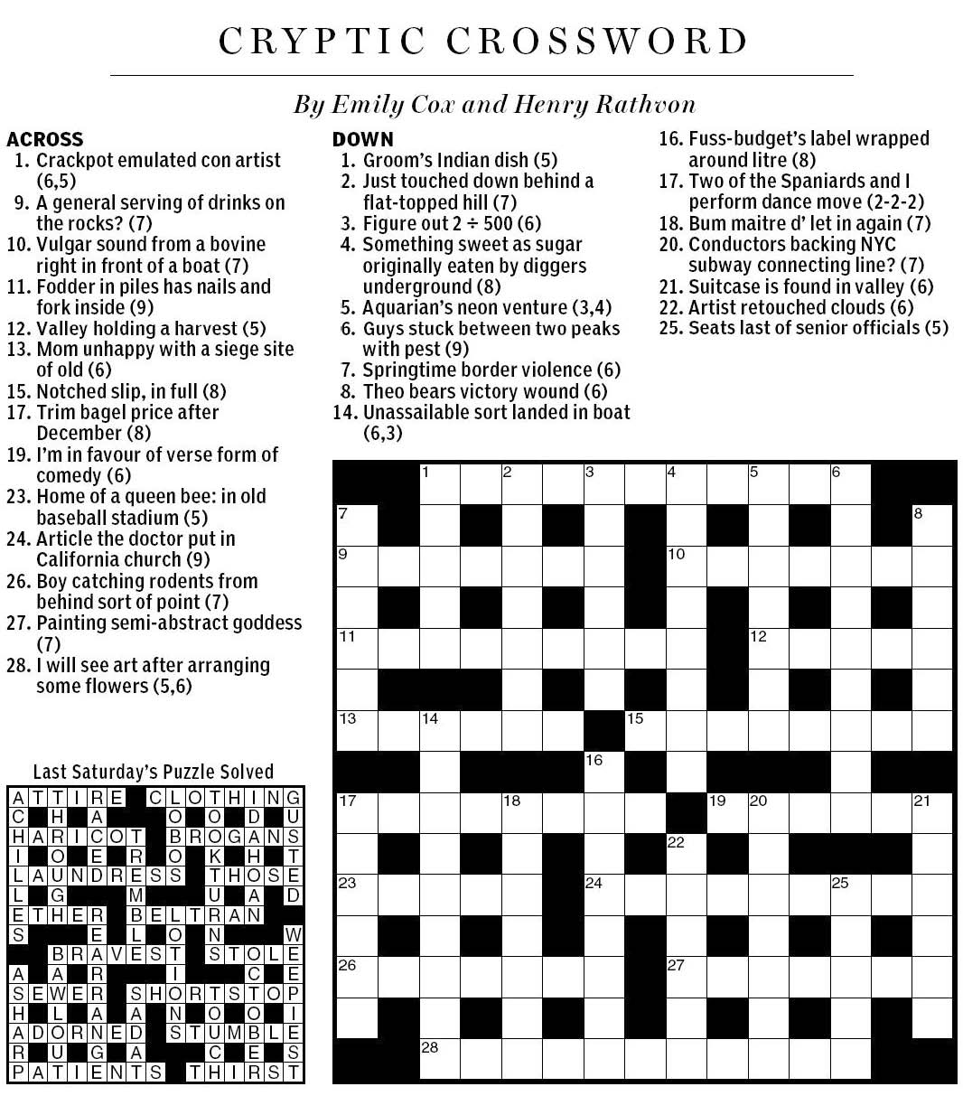 National Post Cryptic Crossword Forum Saturday March 19