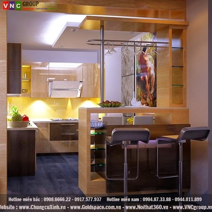 thiết kế nội thất chung cư - phòng bếp ấm cúng