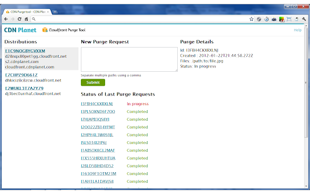 Cloudfront Purge Tool screenshot - main screen