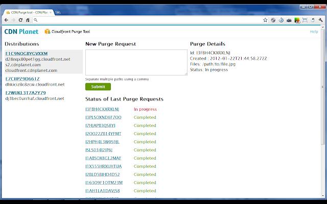 Cloudfront Purge Tool screenshot - main screen