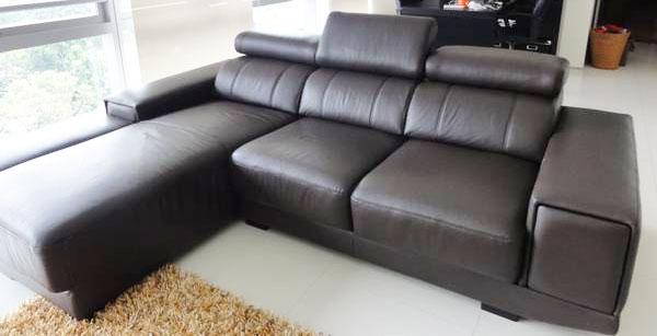 Dark Brown L Shape Leather Sofa