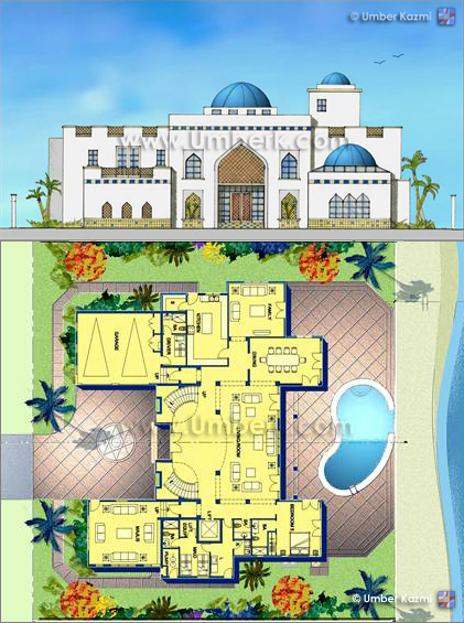 Arabic villa pencil on trace photoshop moroccan for Moroccan house plans