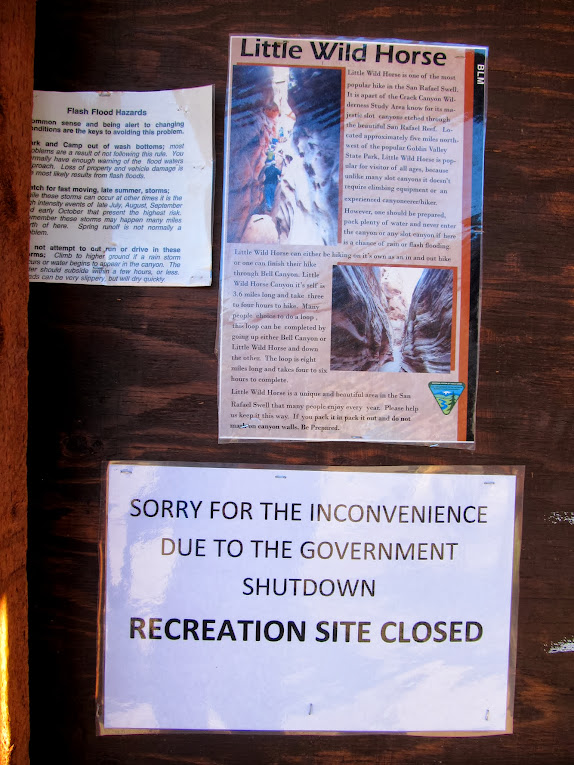 Sign at the Little Wild Horse Canyon trailhead