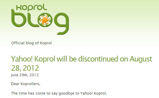 Yahoo officially shuts down Koprol