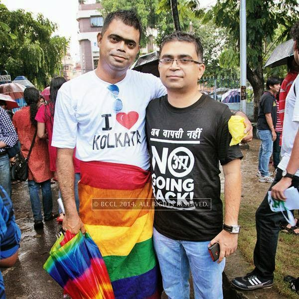 Atanu Bandopadhyay with Pawan Dhall during the 13th edition of Kolkata Rainbow Pride Walk 2014, held in Kolkata.