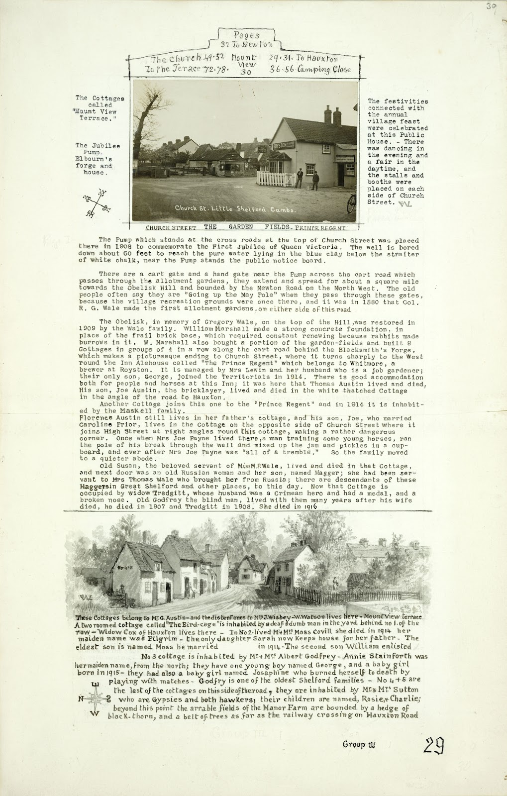A Record of Shelford Parva by Fanny Wale P29 fo. 30, page 29: A photograph of the Church Street, Little Shelford and the Prince Regent public house is at the top of the page. A description of the photograph follows it. At the bottom of the page is a watercolour of the cottages belonging to Mr. G. Austin and a description of them and their inhabitants underneath. [fo.27 but within mount B]