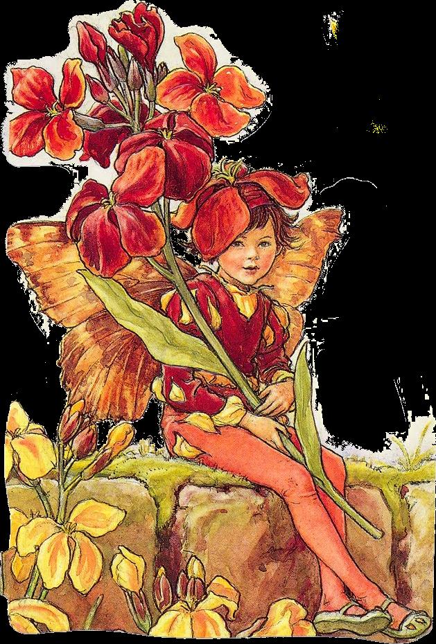 Dibujo de  flores y niño mariposa