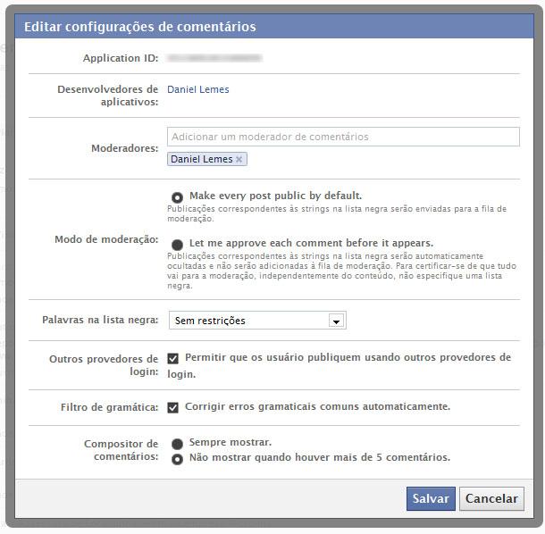 Editar configurações de comentários na moderação do Facebook