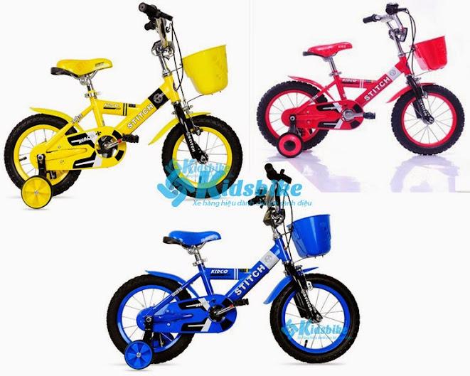 Xe đạp Stitch Kidco màu xanh nước biển khung xe nhiều màu sắc