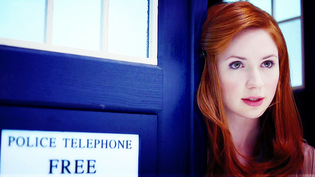 Amy in the TARDIS doorway