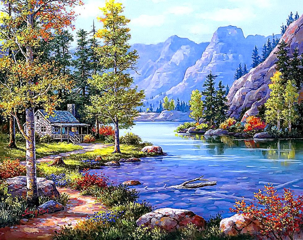 Beautiful Mountain Scenery With Cabins Best Free Hd