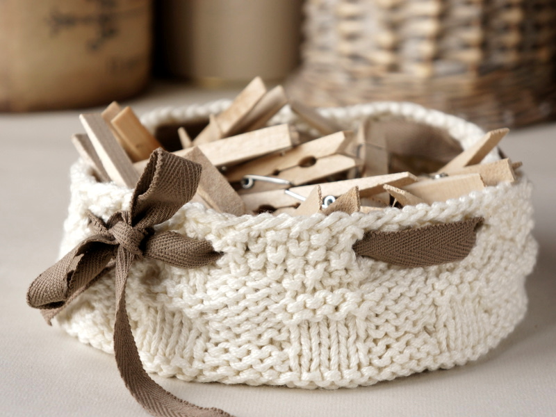 Home decor knitted basket