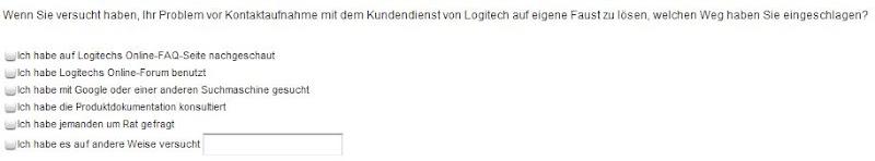 Frage der Logitech Kundenbefragung