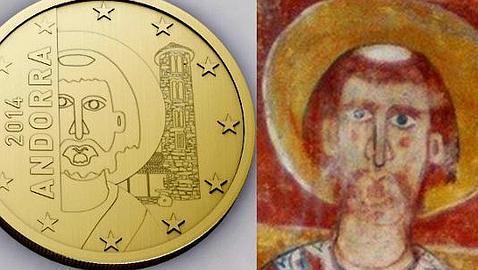 Monedas andorranas con el diseño del Pantocrátor