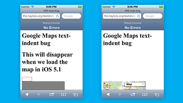 Google Maps in iOS 5 content dissapearing bug