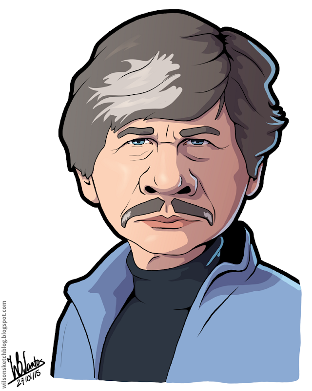 Cartoon caricature of Charles Bronson.