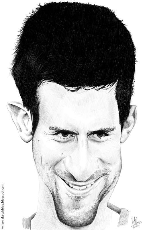Caricature of Novak Djokovic, using MyPaint.