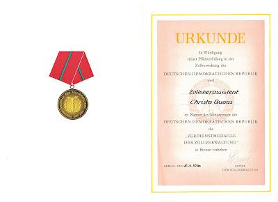 216a Verdienstmedaille der Zollverwaltung der Deutsche Demokratische Republik in Bronze http://www.ddrmedailles.nl