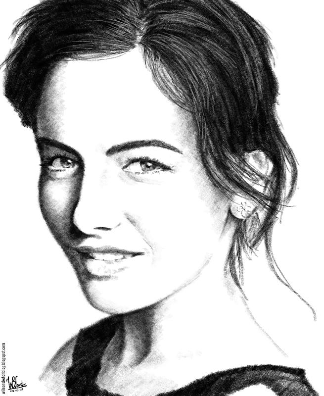 Pencil drawing of Camilla Belle, using Krita 2.5.