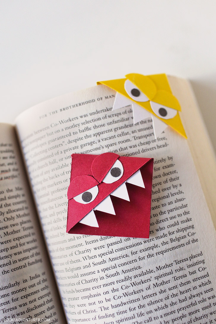 DIY Monster Corner Bookmarks.