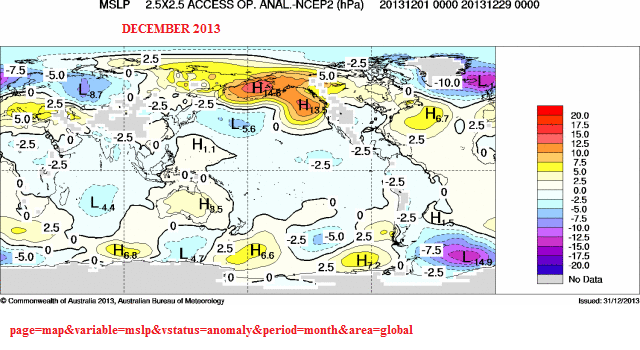 dec 2013 mslp global anomaly