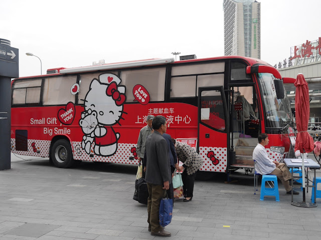Hello Kitty themed blood donation bus in Shanghai