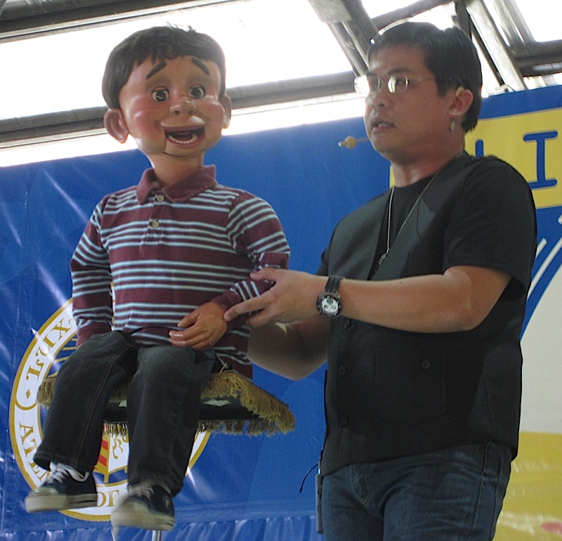 Wanlu the ventriloquist with the puppet Nicolo
