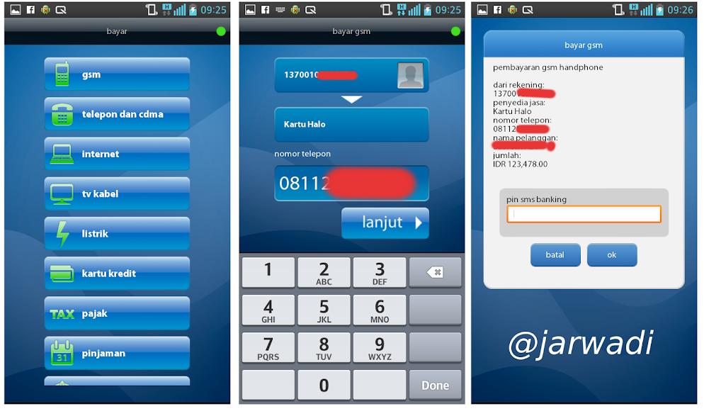 Mandiri Mobile App for Android : Transaksi Pembayaran