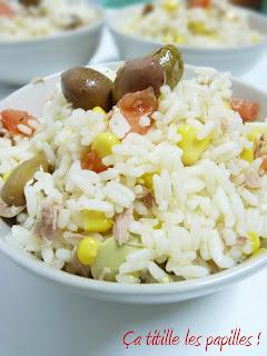 Salade, Riz, Olive, Tomate, Maïs, Ça titille les papilles !
