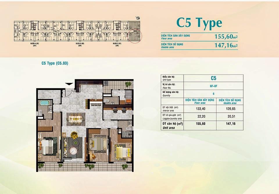 Căn hộ Scenic Valley Phú Mỹ Hưng, kiểu C5, 155.60m2 có thiết kế 4 phòng ngủ