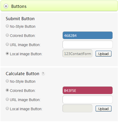 Form Buttons - Submit, Calculate, Reset, Next Page