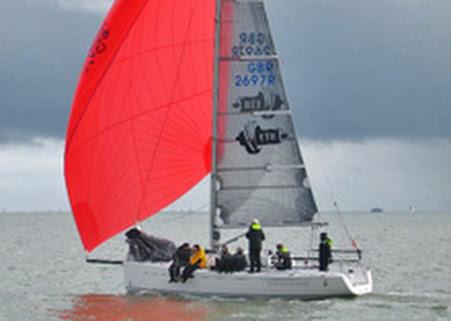 J/97 sailing under spinnaker at Warsash Spring Series