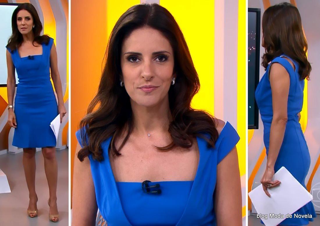 moda do programa Hora 1, look com vestido azul royal da Monalisa Perrone dia 14 de janeiro de 2014