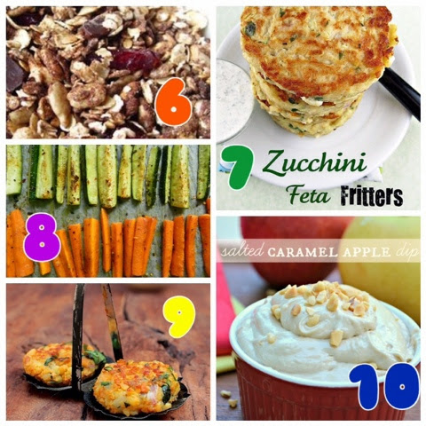 Ten great ideas for snacks on the go - some sweet snacks and some savory. Great for students, kids' lunchboxes and office afternoon snacks - healthy food to keep you going throughout the day.