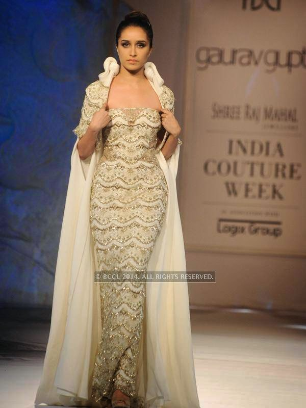 Shraddha Kapoor showcases a creation by designer Gaurab Gupta on Day 3 of India Couture Week, 2014, held at Taj Palace hotel, New Delhi.